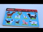 Melissa & Doug Wooden Barn Farm Animal Sounds Puzzle Rooster, Cow, Duck, Pig, Dog, Horse, Cat
