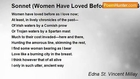 Edna St. Vincent Millay - Sonnet (Women Have Loved Before As I Love Now)